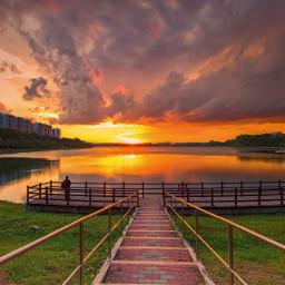 cloudy skyline park sunset picsart