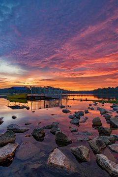 colorful dusk sunset skyline rocks