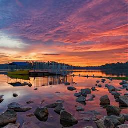 colorful dusk sunset skyline rocks