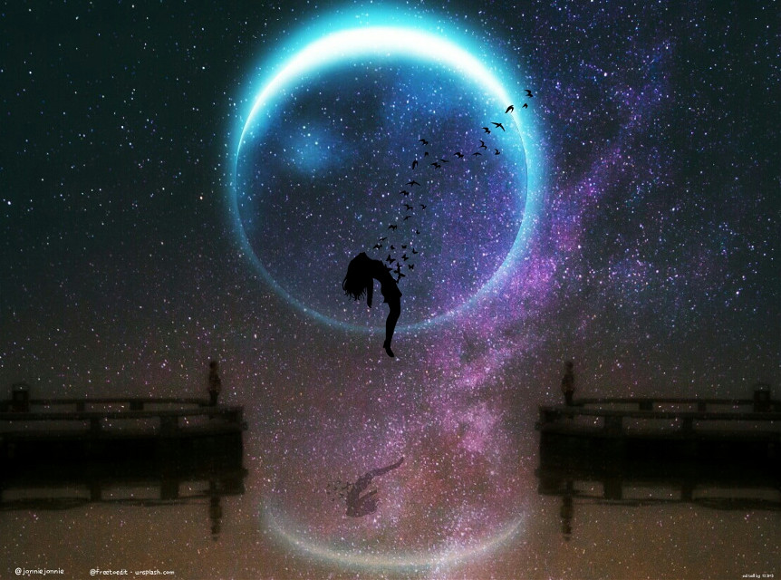 🌒🌑....   2 FTE pics from @jonniejonnie and @freetoedit  #levitate #paphotochallenge #edited #moon #clipart #milkyway #fantasy