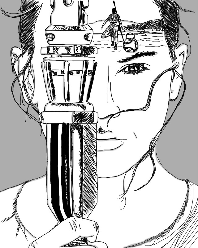 Rey. Ok, this one was just my version of an outline😜 I've been into those lately  #art #outline #interesting #starwars #rey #awesome #surrelism #light #grey #fun #blackandwhite #lightsaber #nerd                #FreeToEdit
