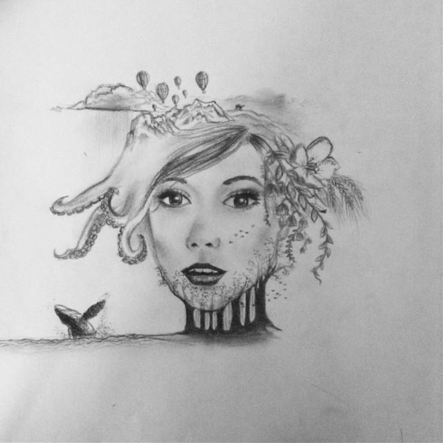 Made of life.  #art #drawing #interesting #surrealism #life #nature #girl #blackandwhite #octopus #flowers #people #birds #pencil