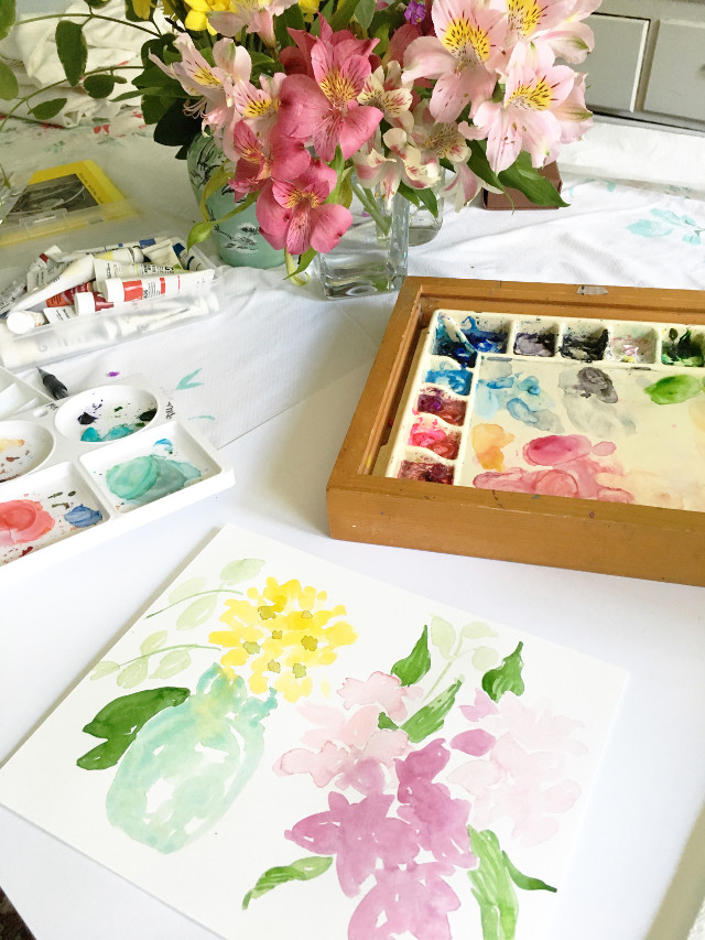 #monicaleeart painting flowers today!