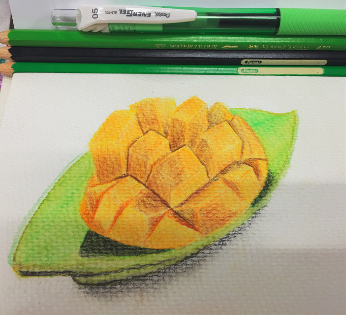 #draw #drawing #colorpencil #fruit #mango #fabercastell