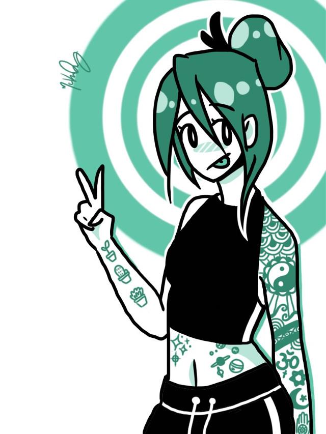 ×ink×          #freetoedit just don't forget to credit ˎ₍•ʚ•₎ˏ  #doodle #myart #interesting #art #blue #seagreen #turquoise #anime #animegirl #tattoo #tattoos #ink #digitalart