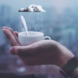 freetoedit rain hand clouds cup
