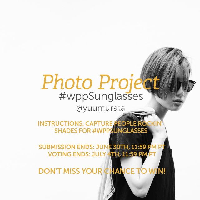 Put sunglasses front and center in your photography this week, and capture shots of people rockin' shades. See how your photos stack up against the competition and share your pics with #wppSunglasses to enter our Weekly Photo Project. (Banner image by @yuumurata )