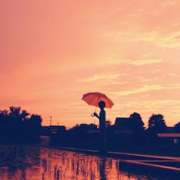 landscape scenery view rain umbrella freetoedit