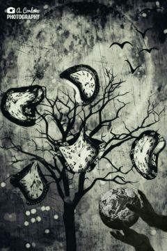 tree surreal bird moon fantasy