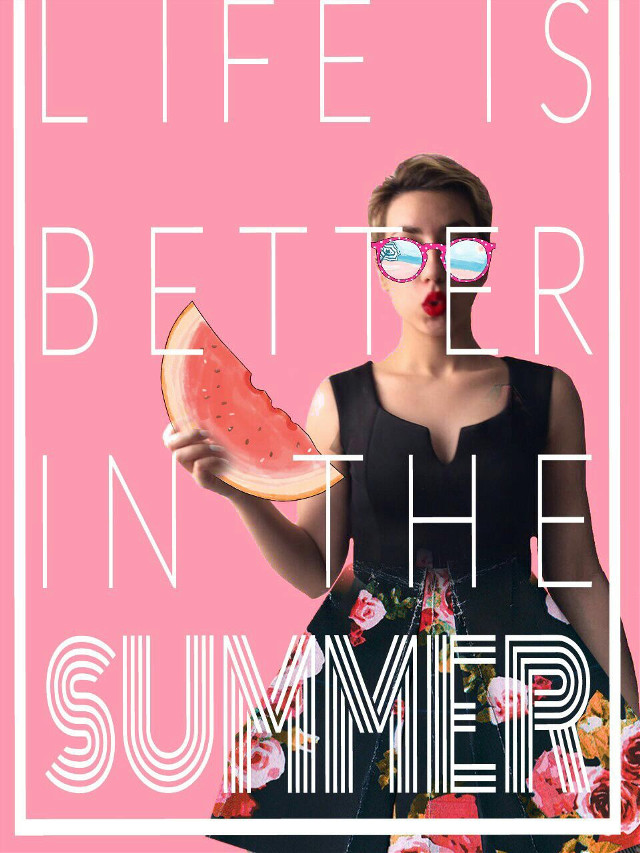 #FreeToEdit #life #pink #better #summer #watermelon