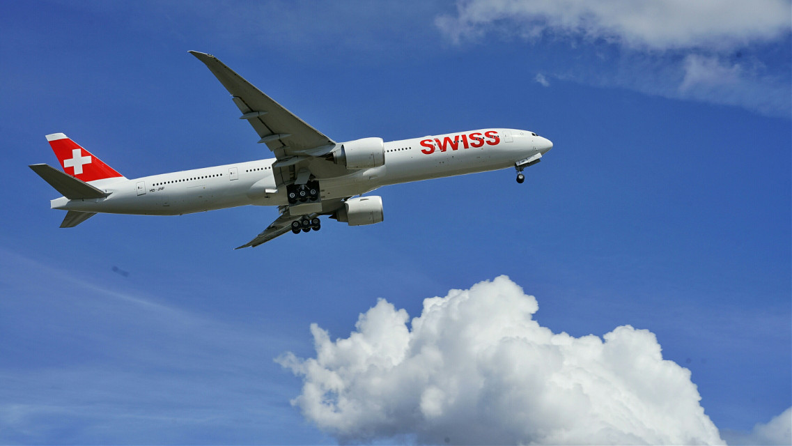 #photography  #Swiss #airline #airplane #plane #sky #blue #cloud #fly