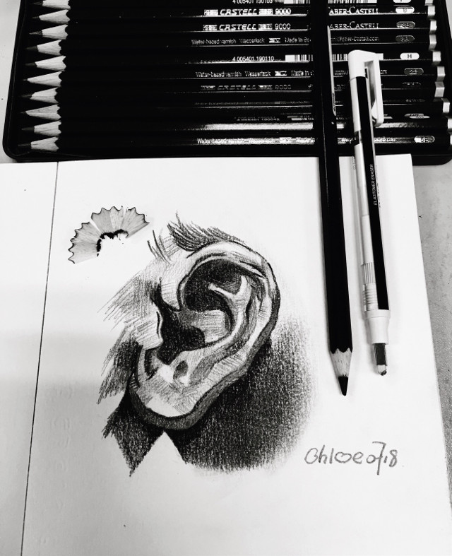 drawing of today #draw #drawing #sketch #pencil #pencilart #fabercastell #ear #portrait #facial #feature #art #blackandwhite